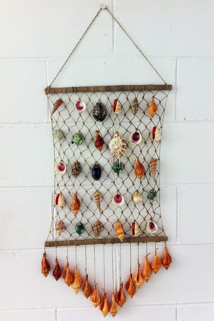 Seashell craft wall hanging decoration ideas art craft for Art and craft for wall decoration