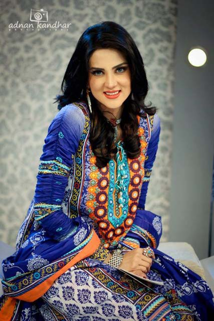 Fiza Ali Latest Dresses in morning tv show by Al hamra textile