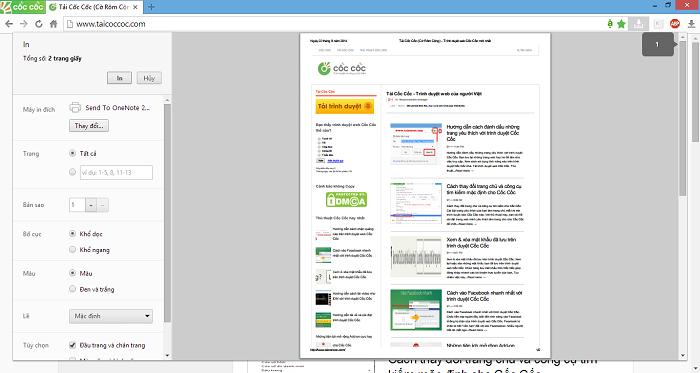 Hướng dẫn in trang web với trình duyệt Cốc Cốc