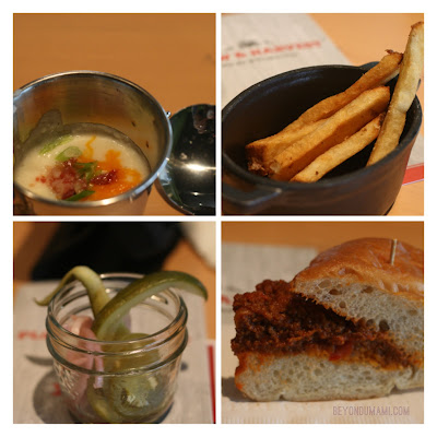 Baked Potato Soup, Hand-cut Plank fries,  Pickled Vegetables & Not-So-Sloppy Joe. at P& H