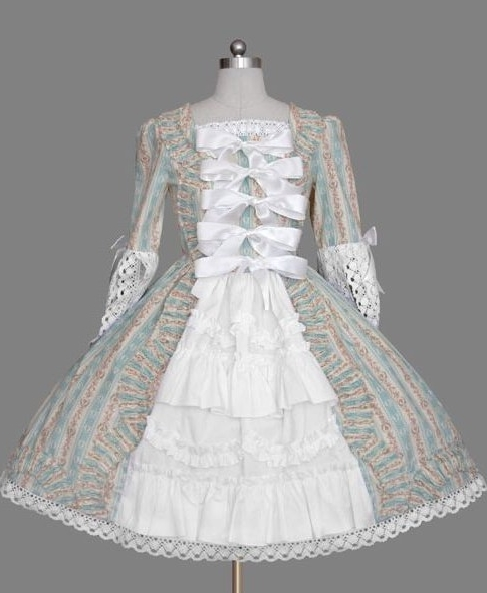 Country Style Printed Long Sleeves Rococo Lolita Dress