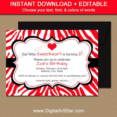 Printable Valentine Zebra Birthday Invitations in Red & Black