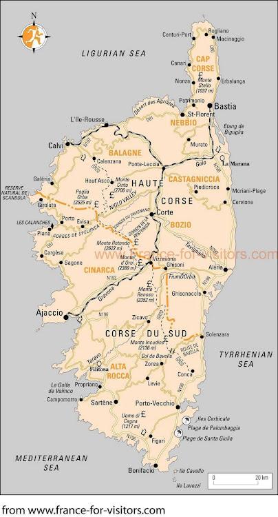 Mapa da Ilha de Córsega - França