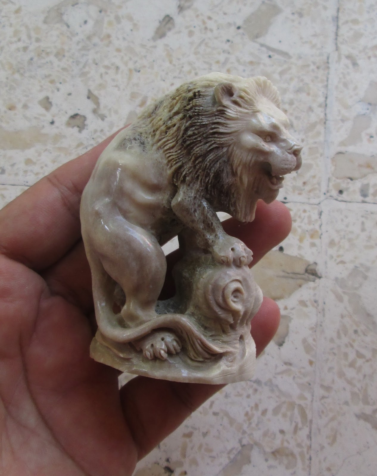 Lion Carving Statue in Caribou Antler