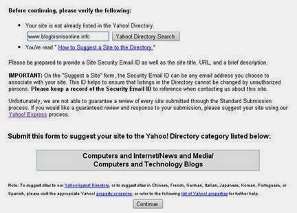 Yahoo directory submit