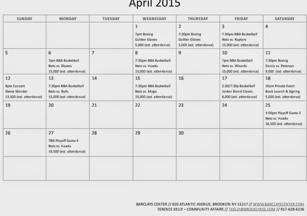 Calendar April Events : Barclays center updates event calendars for april june