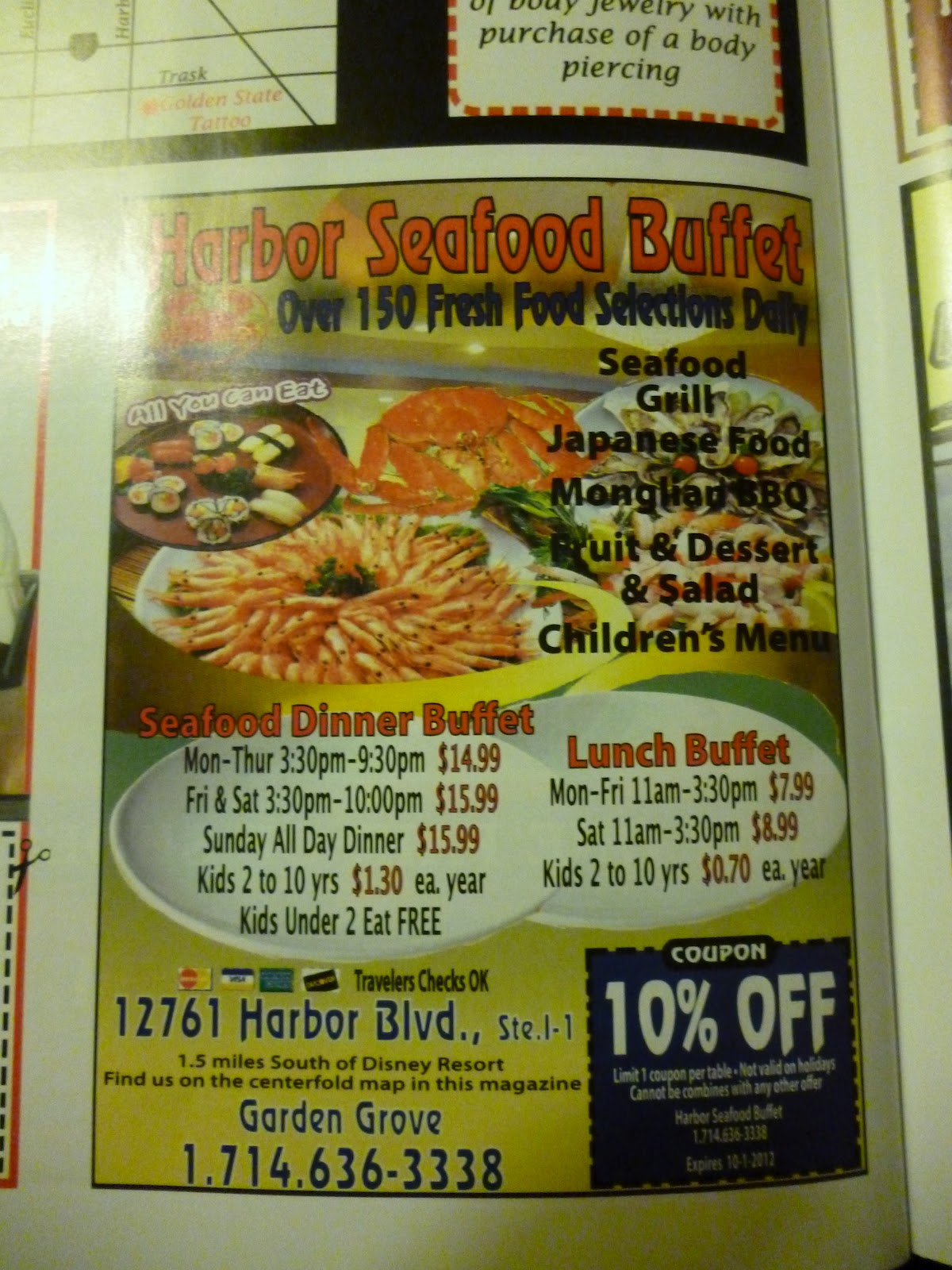 Vc Menu Harbor Seafood Buffet Garden Grove
