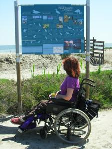 Disabled Travel, easy access footpath country walk at Mejanes, Camargue, France