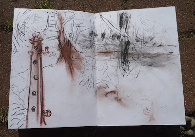 Up to the old post near the bridge - pencil, carbon pencil and red chalk