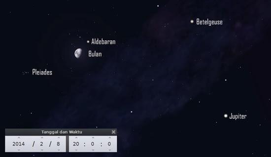 Bintang Aldebaran di Dekat Bulan Malam Ini