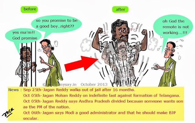 Jagan mohan Reddy cartoon image,Sonia Gandhi funny image,Telangana,Andhra Pradesh divide,mysay.in,indian political cartoons,