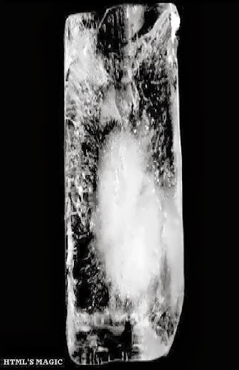 image of an oblong section of ice placed vertically to form the letter I in black and white
