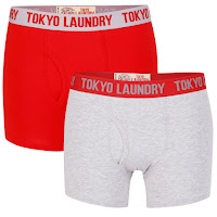 Tokyo Laundry Men's Huck 2-Pack Boxers - Light Grey Marl/Red