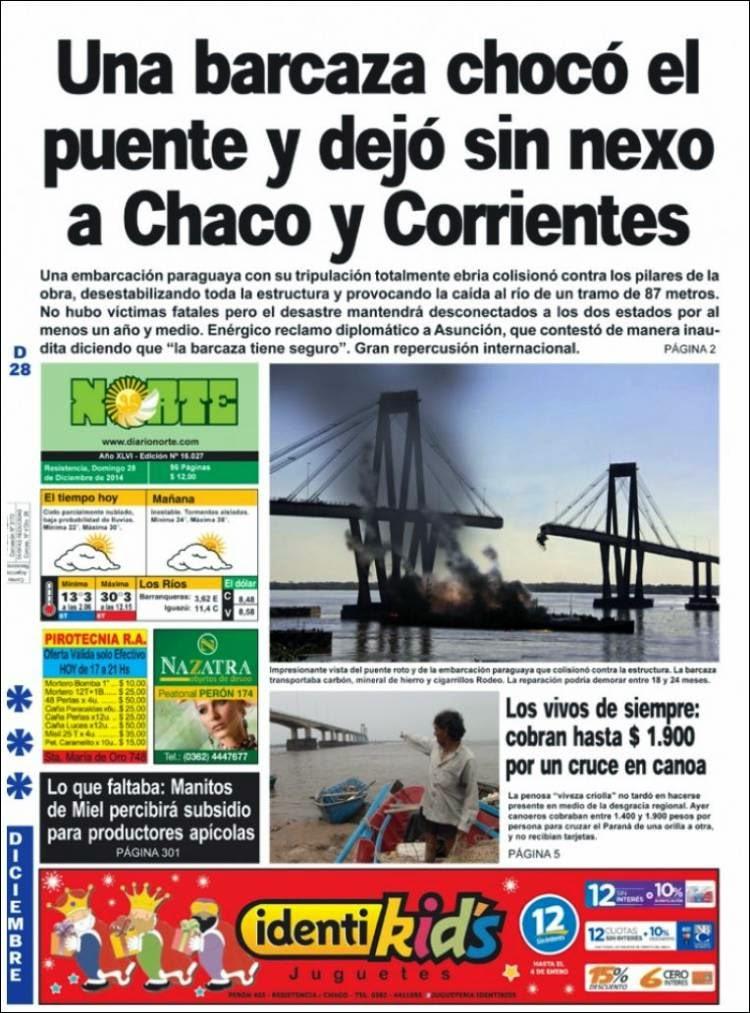 Una barcaza choco el puente y dejó sin conexión a Chaco y Corrientes