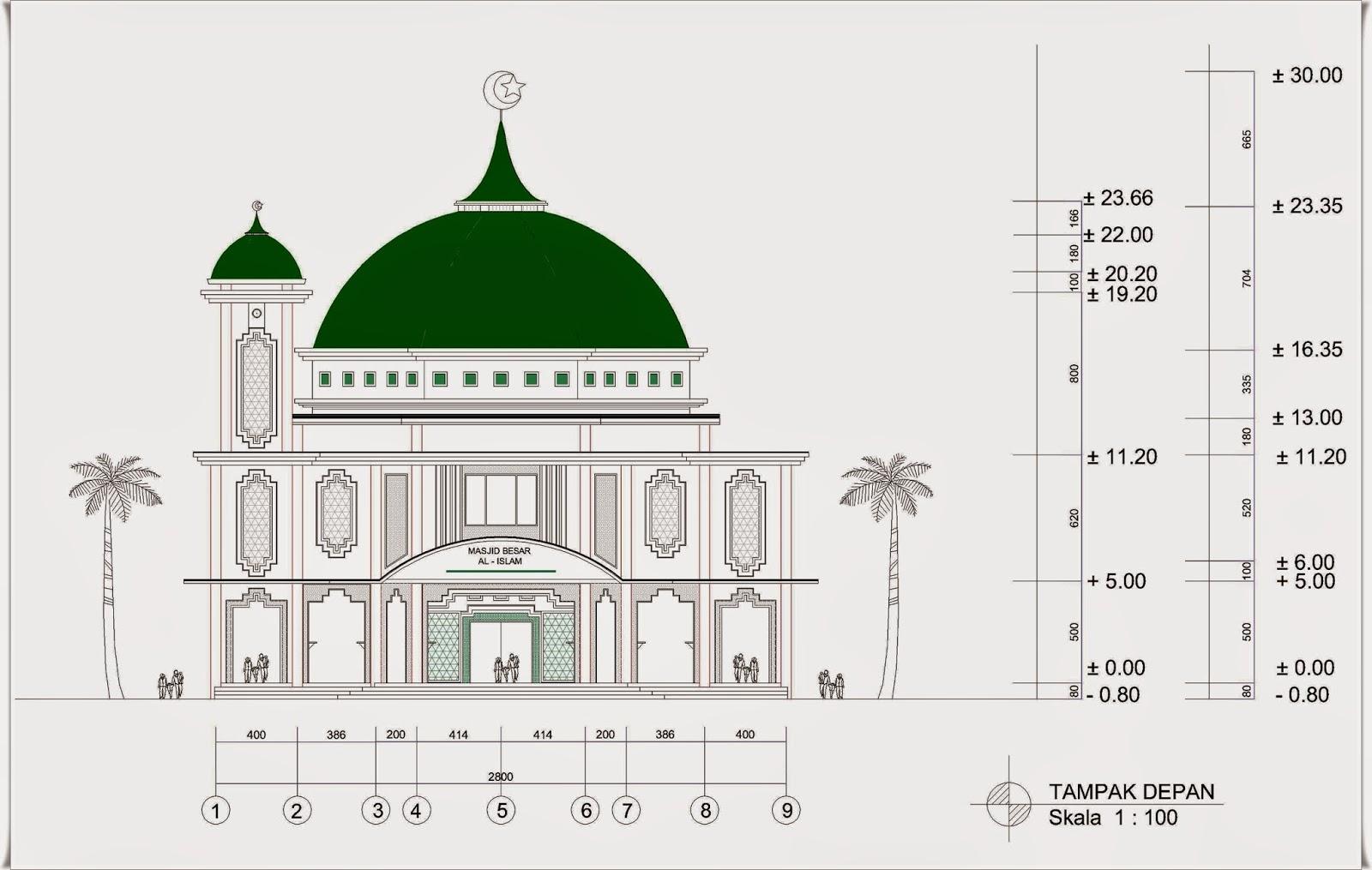 Masjid 2 Lantai Ukuran 28 M X 34 M Dengan 1 Menara Home Design And