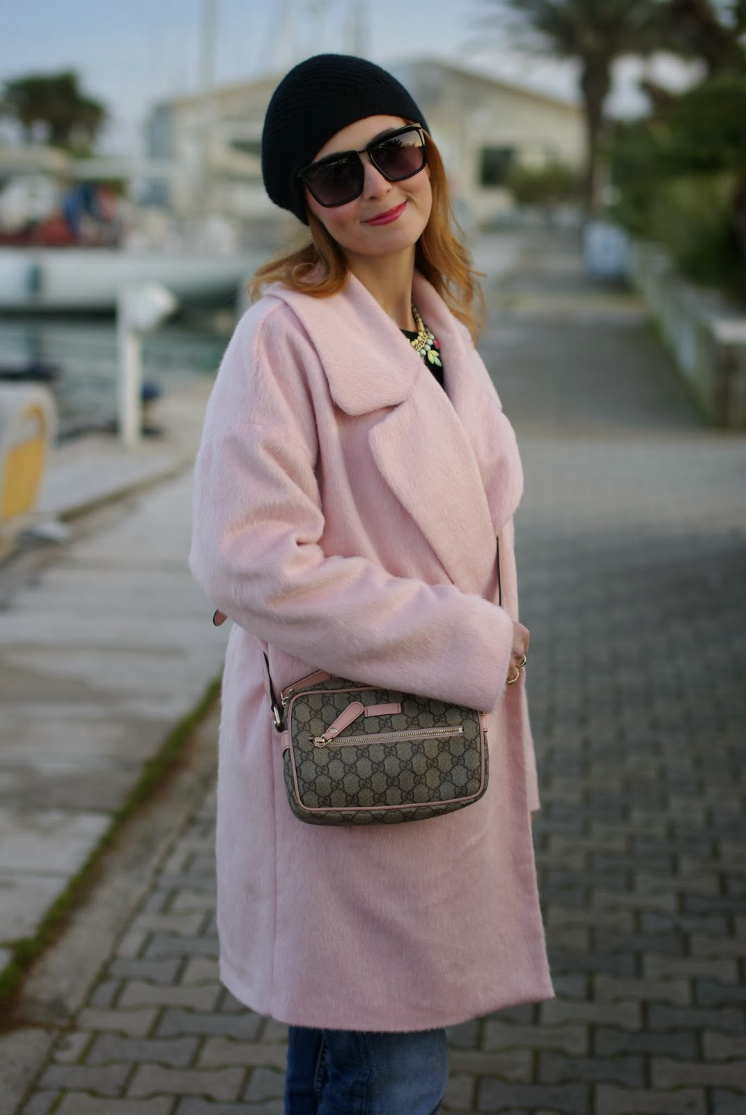 oversized pink coat, gucci pink bag, fashion and cookies, fashion blogger