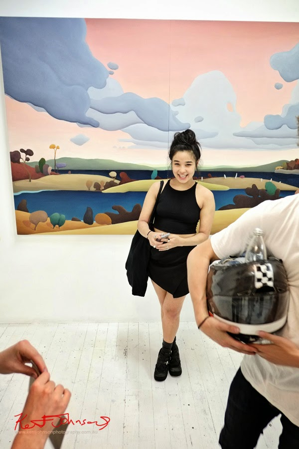 Young woman dressed in black, summer fashion at China Heights gallery - Photography by Kent Johnson.