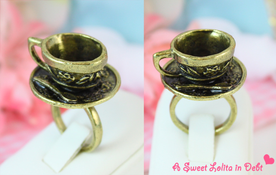 tea cup ring, alice in wonderland ring, tea ring, tea cup and saucer ring
