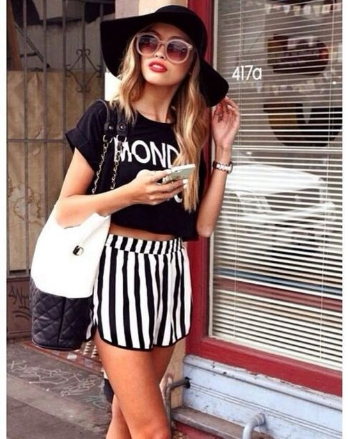 black and white stripe shorts, monday tee shirt, black and white outfit