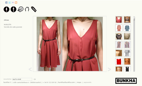 ver página web de Bunkha: tienda en Madrid de moda y ropa para hombres y mujeres