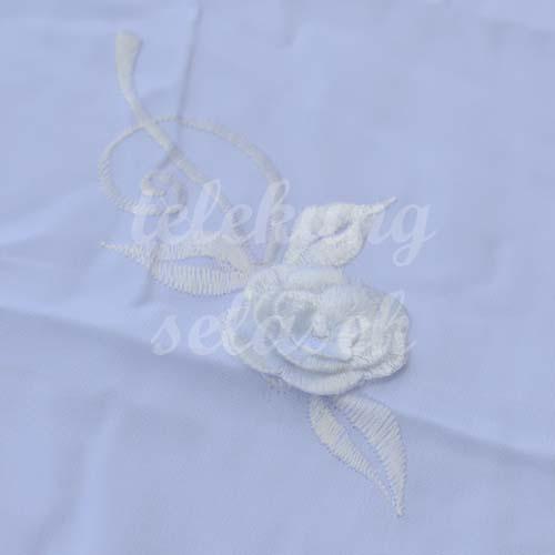 Telekung Vietnam putih bunga timbul