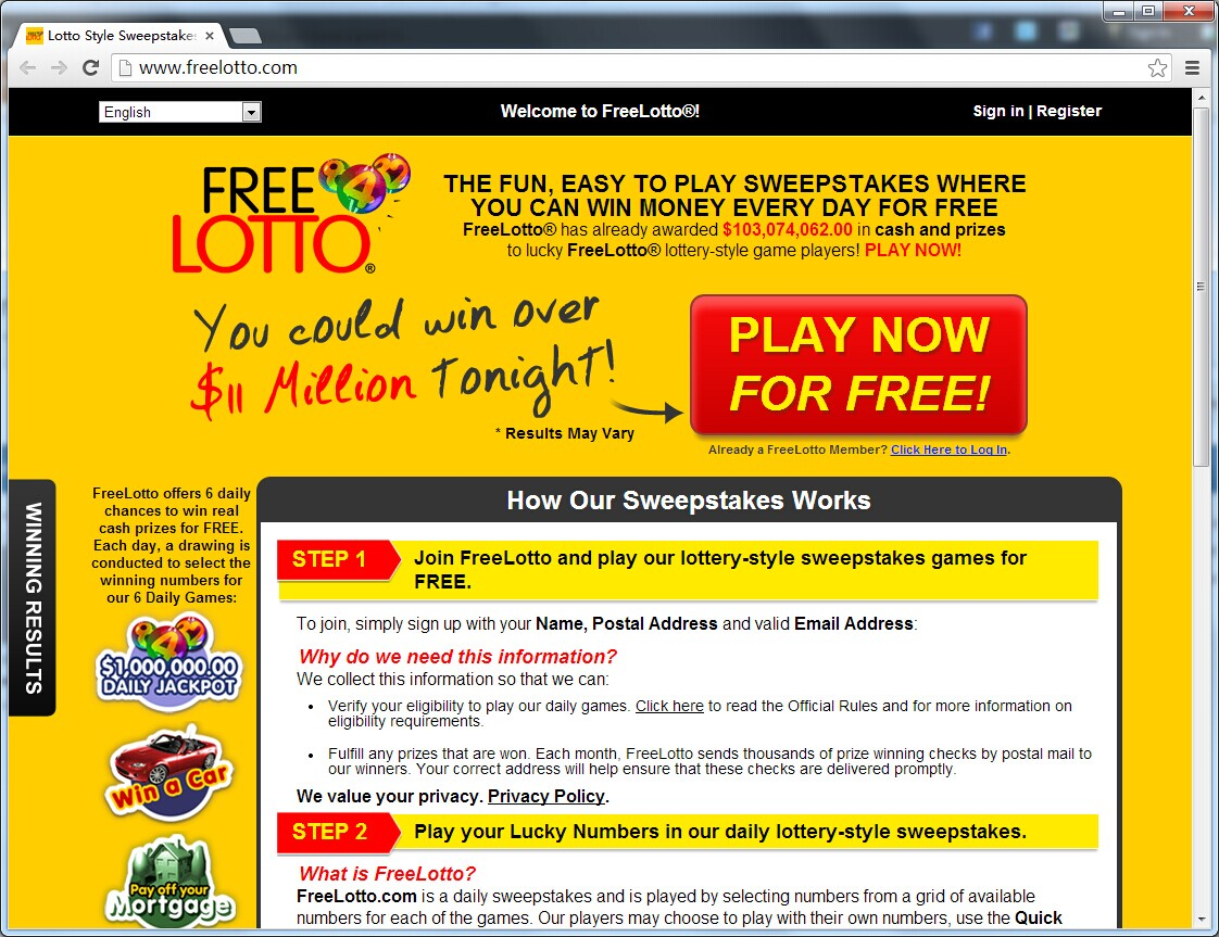 Free lotto email sweepstakes program