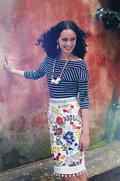 Fashion, pattern mixing, floral skirt, stripe top