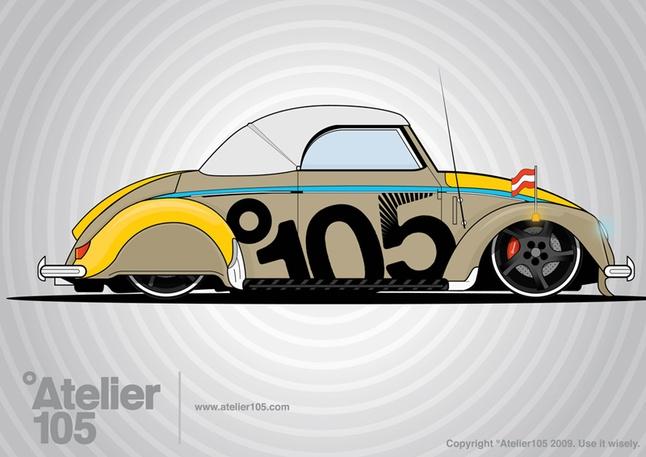 Grunge Volkswagen Beetle Graphics Vector