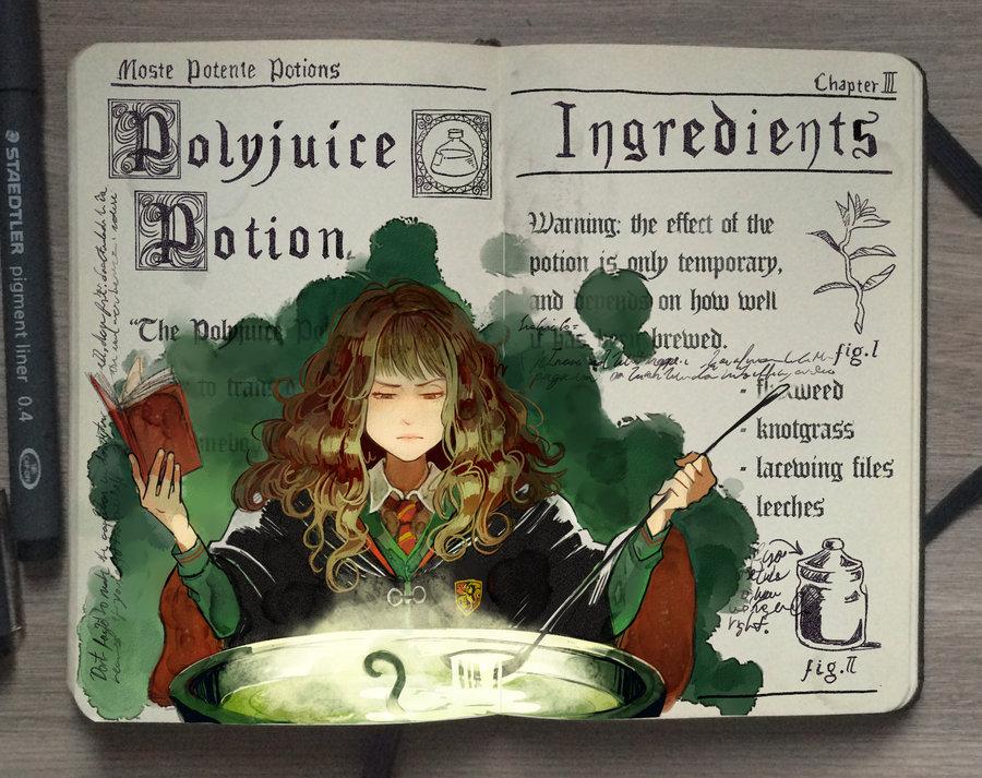 08-Polyjuice-Potion-Gabriel-Picolo-kun-Harry-Potter-Moleskine-Drawings-of-Wizard-Spells-www-designstack-co