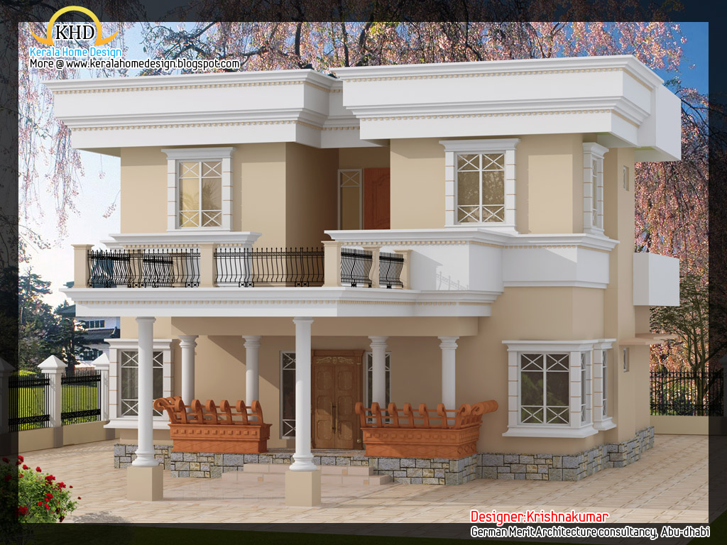 2200 villa with fine line elevation kerala home for Ground floor 3d elevation