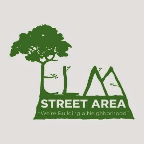 New logo for the Elm Street neighborhood, showing a tree with broad roots.