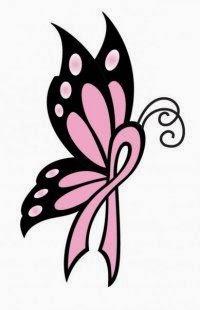 Butterfly breast cancer symbol tattoo stencil
