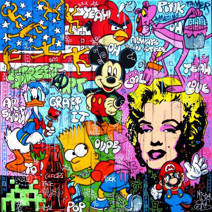 Bien-aimé ERIC SABOUREAU: Street Art120 X 120 cm.Acrylique, Posca et  IE14