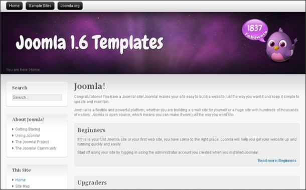 Free Chrome Purple Portfolio Joomla Theme Template