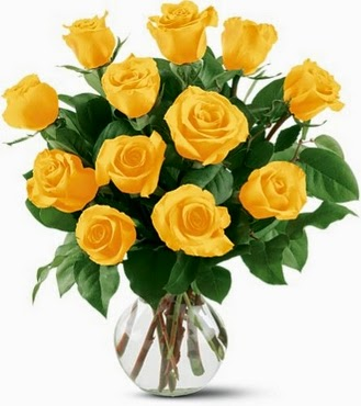 12 Yellow Roses Flowers Bouquet