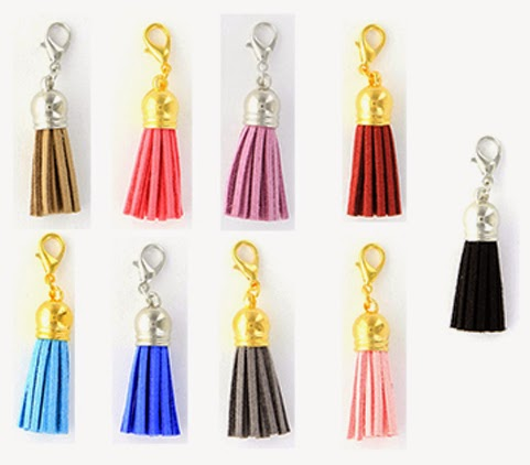 Suede Tassel Accent Charms in gold or silver