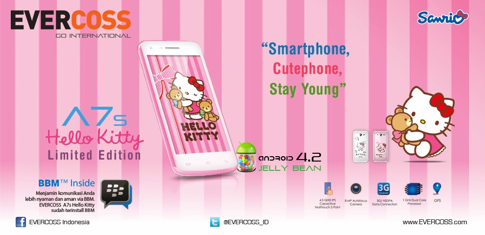 Harga dan Spesifikasi Evercoss A7s Hello Kitty
