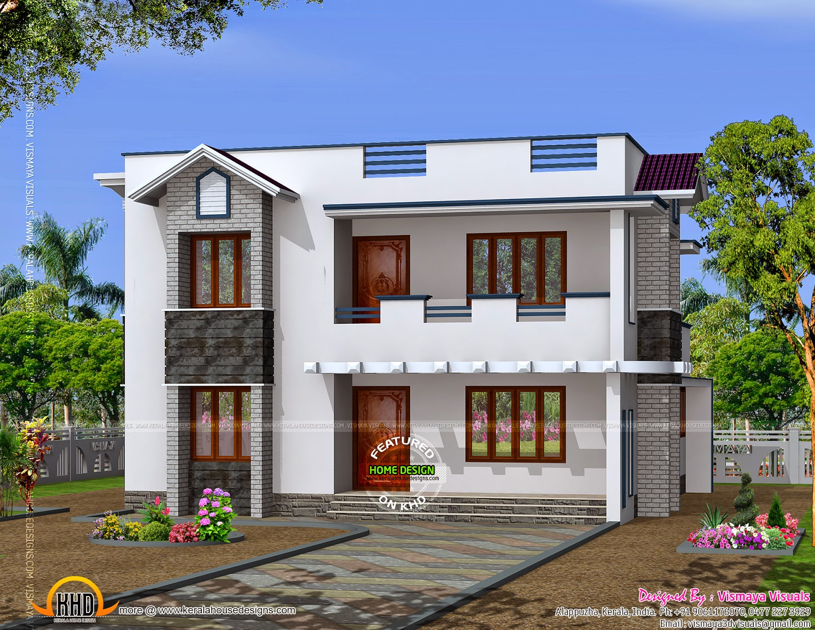 Modern 2 storied kerala home design keralahousedesigns Home design
