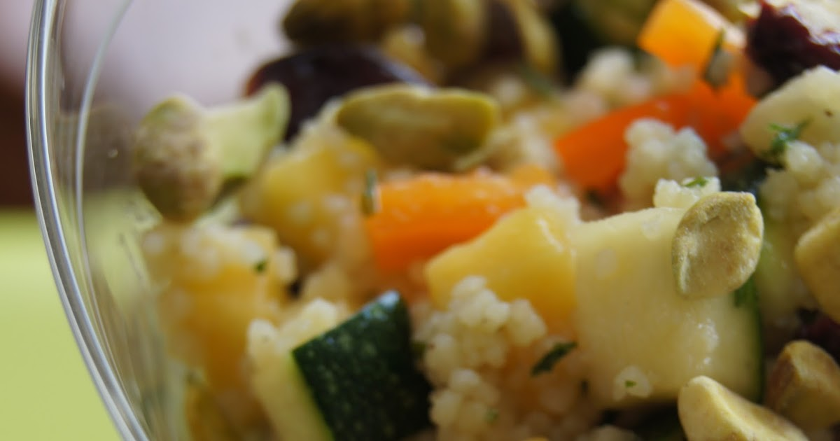 FooDabbler: Sweet Mango Zucchini Couscous with Raw Pistachios Salad
