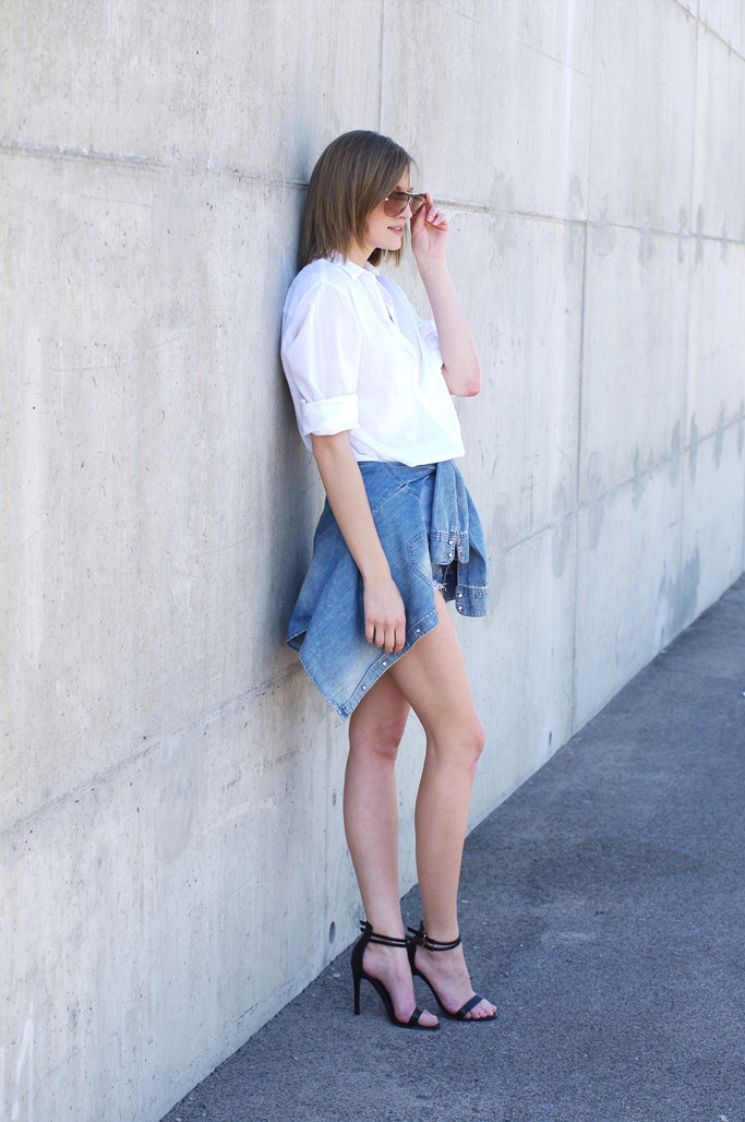 how to dress like elle ferguson, they all hate us, denim on denim outfit look, blogger