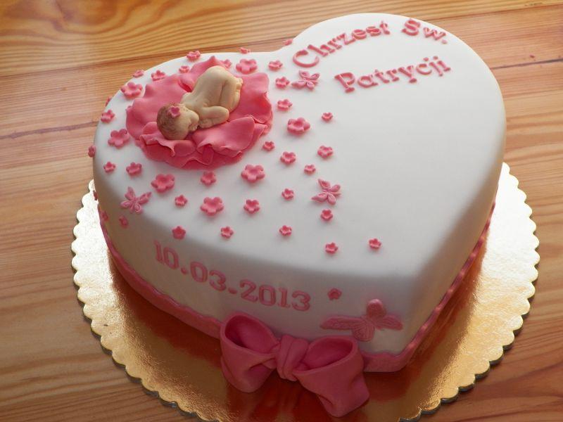 Torty Z Pasją Tort Serce Na Chrzest Dla Dziewczynki
