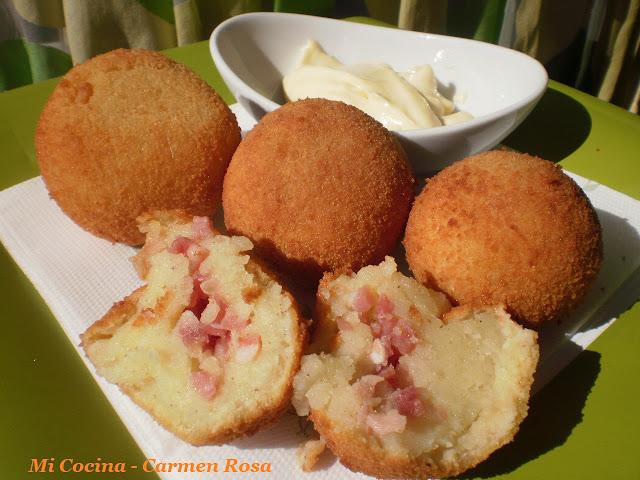 bolitas de patata con jamon iberico