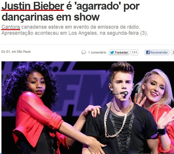 Justin Bieber é 'agarrado' por dançarinas em show - CANTORA - Erro G1