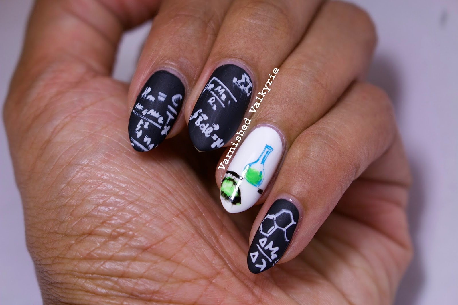 Varnished Valkyrie: Science and/or Math Nails