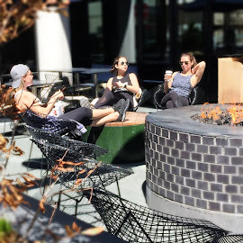 Chillin' in the sun after a workout around the fire pit in front of the Ace Hotel.