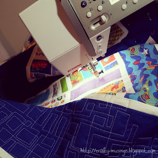 quilting progress on my Mod Mosaic block exchange quilt