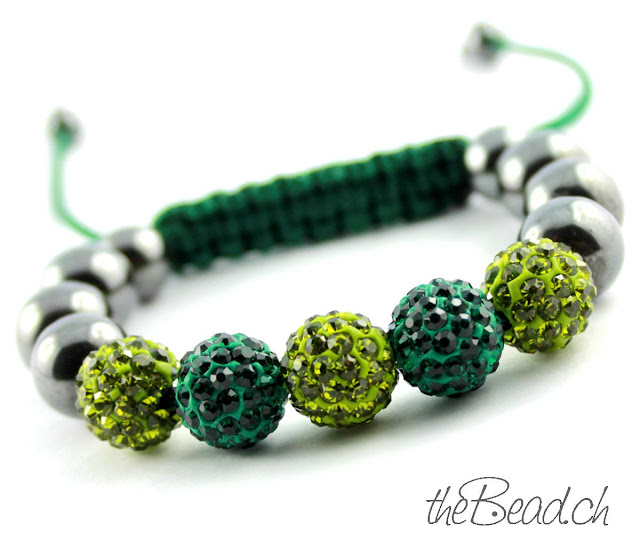 Shamballa Armband in Grün mit Hämatit Perlen günstiger Preis