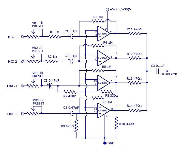 multi channel audio mixer lm3900 circuit diagram rh circuit4diagram blogspot com