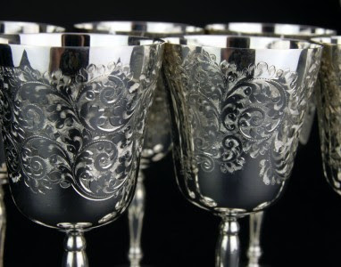 ANTIQUE STYLE 20thC SET OF 6 SOLID SILVER GOBLETS, BIRMINGHAM c.1971
