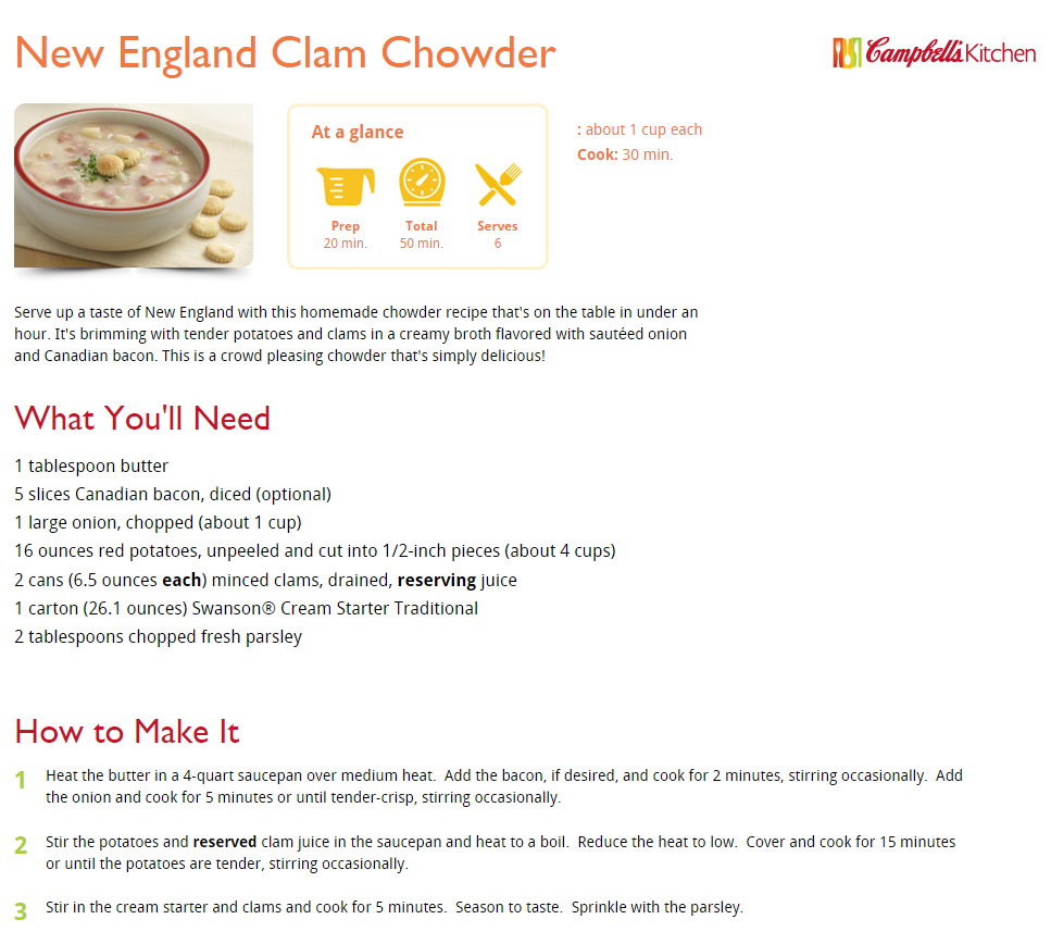 New England Clam Chowder Recipe Campbell\'s Kitchen - Self Sagacity